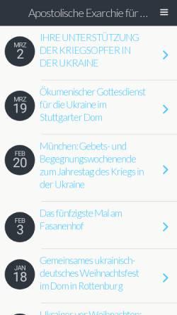 Vorschau der mobilen Webseite www.ukrainische-kirche.de, Apostolische Exarchie für katholische Ukrainer in Deutschland