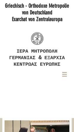 Vorschau der mobilen Webseite www.orthodoxie.net, Die griechisch-orthodoxe Metropolie von Deutschland