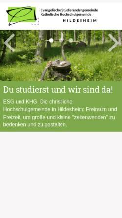 Vorschau der mobilen Webseite www.khg-esg-hildesheim.de, KHG und ESG Hildesheim