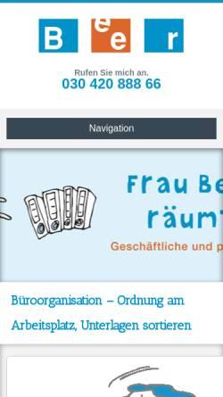 Vorschau der mobilen Webseite www.beer-sortierservice.de, Beer Sortier- und Organisations-Service, Christa Beer