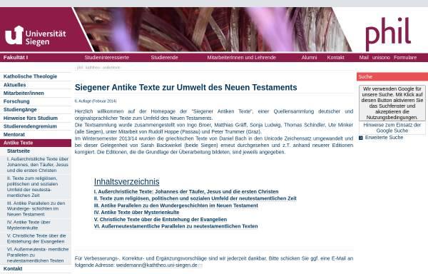 Vorschau von www.uni-siegen.de, Antike Texte zur Umwelt des Neuen Testaments