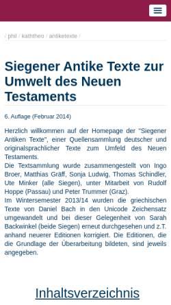Vorschau der mobilen Webseite www.uni-siegen.de, Antike Texte zur Umwelt des Neuen Testaments