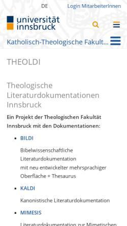 Vorschau der mobilen Webseite www.uibk.ac.at, Theologische Literaturdokumentation der Uni Innsbruck