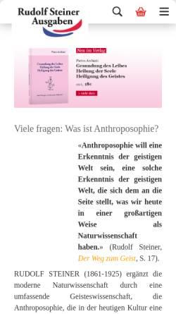 Vorschau der mobilen Webseite www.rudolfsteinerausgaben.com, Rudolf Steiner Ausgaben e. K.