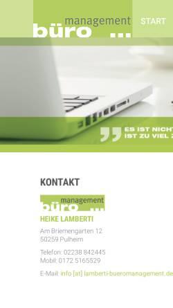 Vorschau der mobilen Webseite www.lamberti-bueromanagement.de, Büromanagement, Heike Lamberti