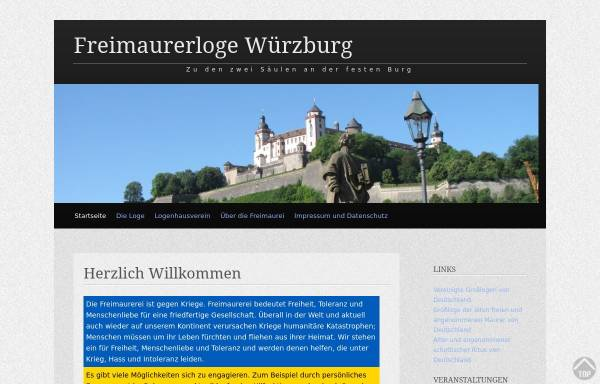 Vorschau von www.freimaurer-wuerzburg.de, Zu den zwei Säulen an der festen Burg