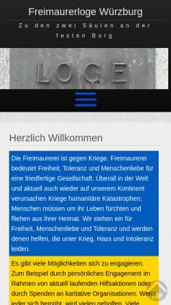 Vorschau der mobilen Webseite www.freimaurer-wuerzburg.de, Zu den zwei Säulen an der festen Burg