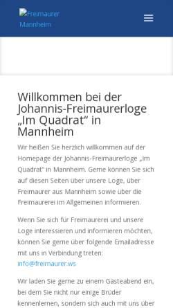 Vorschau der mobilen Webseite www.freimaurer.ws, Johannis-Freimaurerloge Im Quadrat, Mannheim
