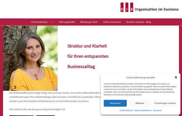 Vorschau von www.o-i-b.de, Organisation im Büro, Christa Beckers