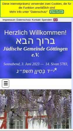 Vorschau der mobilen Webseite www.juedische-gemeinde-goettingen.de, Jüdische Gemeinde Göttingen