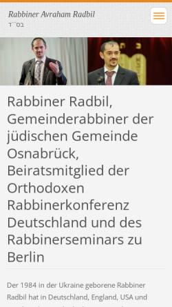 Vorschau der mobilen Webseite rabbiradbil-com.webnode.com, Rabbiner Avraham Radbil