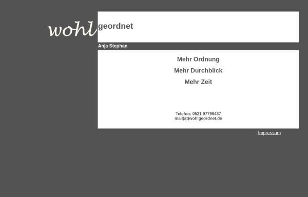 Vorschau von www.wohlgeordnet.de, Wohlgeordnet, Anja Stephan
