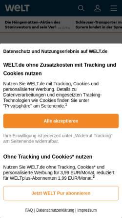 Vorschau der mobilen Webseite www.welt.de, Die Welt