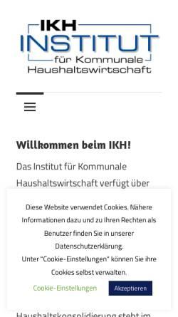 Vorschau der mobilen Webseite www.ikh.biz, IKH - Institut für Kommunale Haushaltswirtschaft Helsa