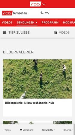 Vorschau der mobilen Webseite www.rbb-online.de, tier zuliebe