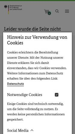 Vorschau der mobilen Webseite www.bmelv.de, Tierversuchsdaten 2007
