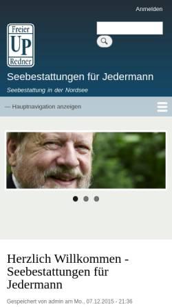 Vorschau der mobilen Webseite www.seebestattungen-fuer-jedermann.de, Seebestattungen für Jedermann