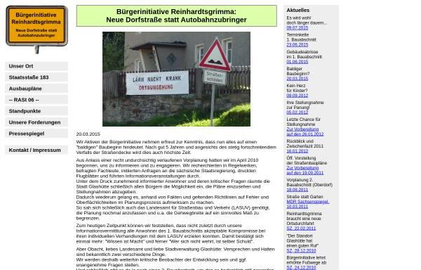 Vorschau von www.ortsdurchfahrt-reinhardtsgrimma.de, Bürgerinitiative Reinhardtsgrimma