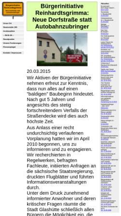 Vorschau der mobilen Webseite www.ortsdurchfahrt-reinhardtsgrimma.de, Bürgerinitiative Reinhardtsgrimma