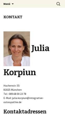 Vorschau der mobilen Webseite www.integrative-osteopathie.de, Julia Korpiun