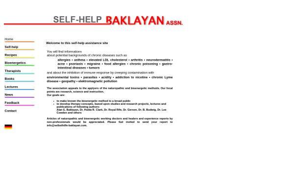 Vorschau von www.selbsthilfe-baklayan.com, Institute for Bioenergetic Research - Selbsthilfe Alan E. Baklayan