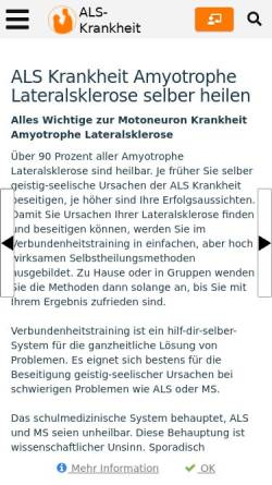 Vorschau der mobilen Webseite www.als-krankheit.de, Amyotrophe Lateralsklerose- Ursache, Heilung, Forschung
