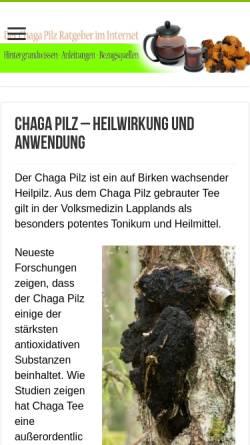 Vorschau der mobilen Webseite www.chagapilz.org, Chaga Pilz