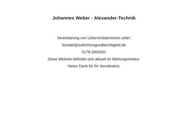 Vorschau von www.aufrichtungundleichtigkeit.de, Johannes Weber