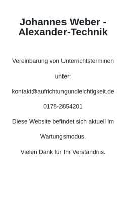 Vorschau der mobilen Webseite www.aufrichtungundleichtigkeit.de, Johannes Weber