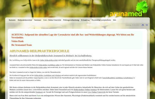 Vorschau von www.arunamed.de, Heilpraktikerschule Arunamed