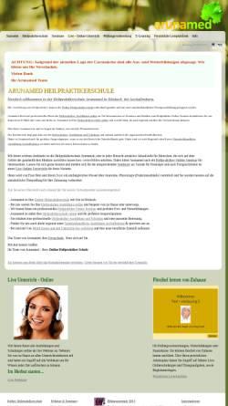Vorschau der mobilen Webseite www.arunamed.de, Heilpraktikerschule Arunamed