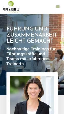 Vorschau der mobilen Webseite www.anke-michels.de, Anke Michels Consulting, Training, Coaching