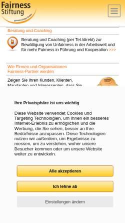 Vorschau der mobilen Webseite www.fairness-stiftung.de, Fairness-Stiftung