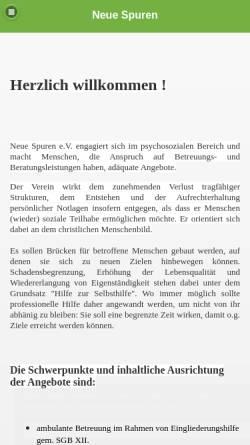 Vorschau der mobilen Webseite www.neue-spuren.de, NSL - Neue Spuren Legen