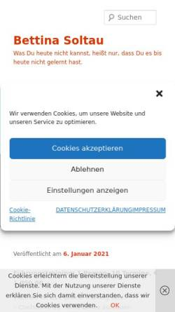 Vorschau der mobilen Webseite www.bettina-soltau.de, Bettina Soltau - Kommunikationsbüro