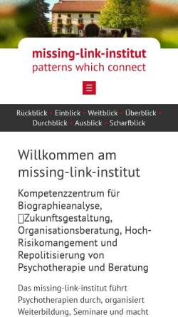 Vorschau der mobilen Webseite www.missing-link-institut.de, Missing Link Institut - Matrix Coaching