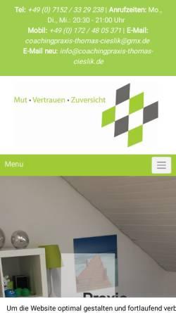 Vorschau der mobilen Webseite www.coachingpraxis-thomas-cieslik.de, Thomas Cieslik