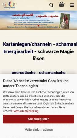 Vorschau der mobilen Webseite www.winds-of-earth.de, Monika Martin - winds-of-earth