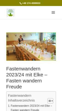 Vorschau der mobilen Webseite www.fastenwandern-elke.de, Elke Brademann Fastenwanderungen