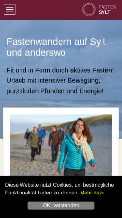 Vorschau der mobilen Webseite www.fasten-sylt.de, Fastenhaus Ahlers auf Sylt