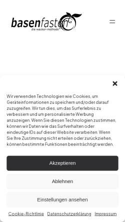 Vorschau der mobilen Webseite www.basenfasten.de, Basenfasten nach der Wacker-Methode