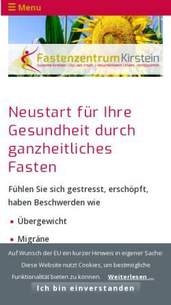 Vorschau der mobilen Webseite www.fastenzentrumkirstein.de, Fastenzentrum Kirstein für homöopathisch begleitetes Fasten
