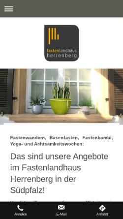 Vorschau der mobilen Webseite www.fastenlandhaus-herrenberg.de, Fastenlandhaus Herrenberg