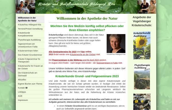 Vorschau von www.kraeuterkunde-die-ausbildung.de, Kräuter- und Heilpflanzenschule Hildegard Kita
