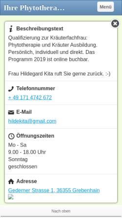 Vorschau der mobilen Webseite www.kraeuterkunde-die-ausbildung.de, Kräuter- und Heilpflanzenschule Hildegard Kita