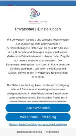 Vorschau der mobilen Webseite www.360grad-hypnose.de, Hypnosecoaching Christian Schmidt