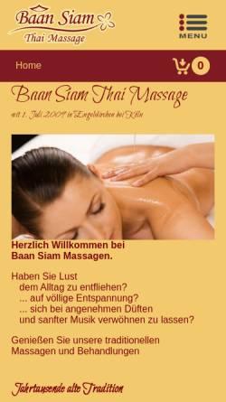 Vorschau der mobilen Webseite www.baansiam-massage.de, BaanSiam Thai Massage