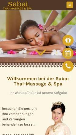 Vorschau der mobilen Webseite www.thai-massage-sabai.de, Sabai Thai-Massage und Spa