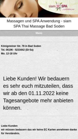 Vorschau der mobilen Webseite www.mysiamspa.de, Tha's Spa