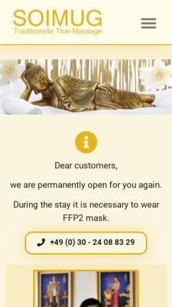Vorschau der mobilen Webseite soimug.de, Soimug - Traditionelle Thaimassage